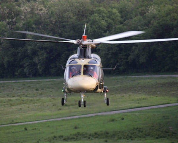 A front view of the AgustaWestland AW169 helicopter.