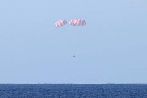 Parachutes ensure stable and controlled descent and landing of the capsule. Image courtesy of SpaceX.