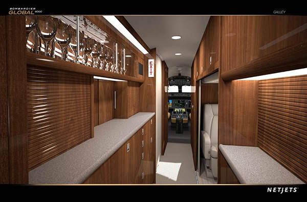 The galley area in the NetJets Global 6000.