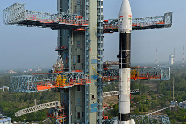 The GSAT 14 satellite was integrated with GSLV-D5 in December 2013. Image courtesy of ISRO.