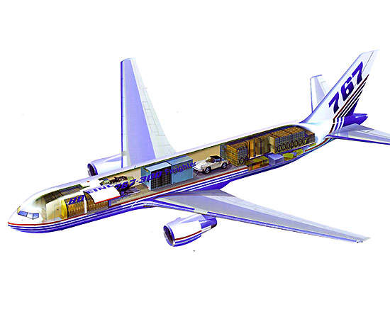 Cutaway diagram of the 757-300F showing cargo carrying configuration.