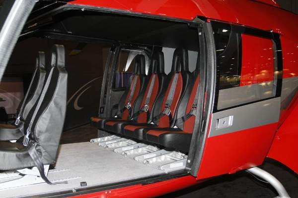 The SKYeSH09 helicopter can accommodate seven passengers and one pilot.  Image courtesy of Marenco Swisshelicopter AG.