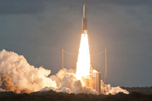 The launch took place from Kourou in French Guiana. Image courtesy of Arianespace.