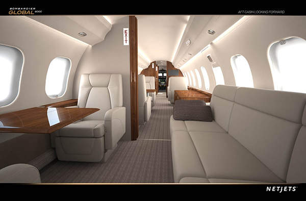 The spacious seating in Global 6000 being produced for NetJets.