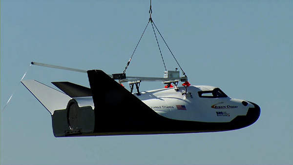 Dream Chaser lifted during its Captive Carry test. Image courtesy of Sierra Nevada Corporation.