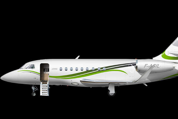 The Falcon 2000S aircraft has a range of 3,350nm.