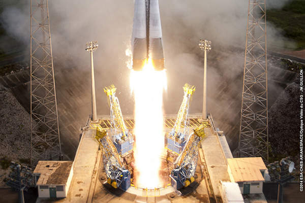 Soyuz carrying the first two FOC satellites was successfully launched from the spaceport on 22 August 2014. Image courtesy of Arianespace.