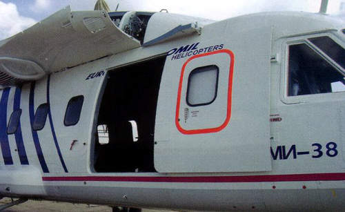 The starboard sliding door of the Mi-38 cargo transport variant.