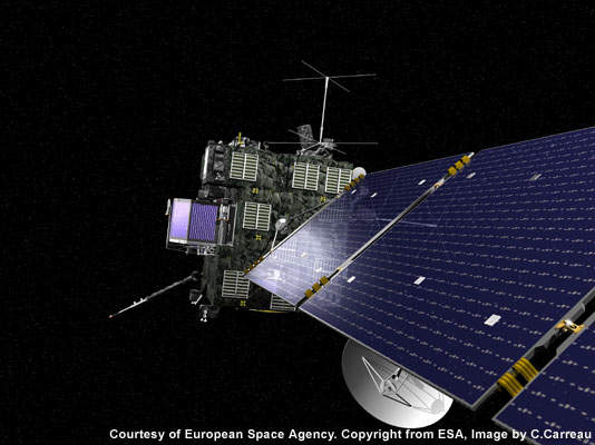 Artist's impression of the Rosetta orbiter as it flies by asteroid Steins.