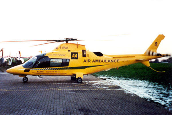 The AW109 Power in AA Air Ambulance colours.