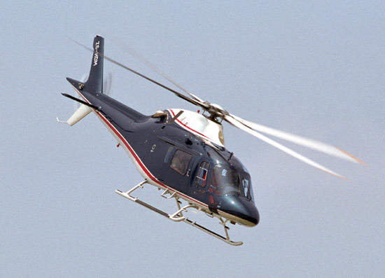 The main rotor is constructed of titanium with composite blade grips and elastomeric bearings.