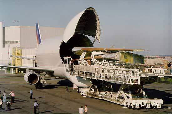 Airbus uses Beluga aircraft for transporting large assembled sections of the fuselage and wings of aircraft.