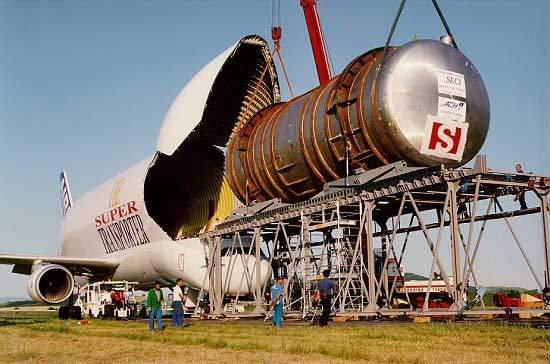 The Beluga has been used to transport a chemical tank and its supports weighing 45t.
