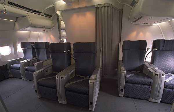 First-class cabin on a US Airways A330-200.