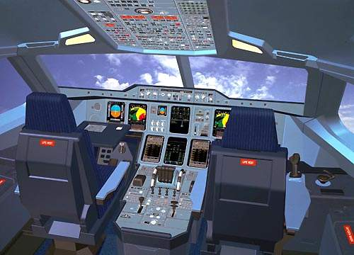 The A380 flight deck has an integrated modular avionics suite with eight 15cm x 20cm liquid crystal displays.