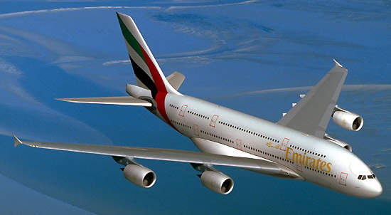 The A380 passenger aircraft in the colours of the Emirates airline, which has 45 aircraft on order.