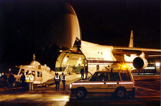 Bell 214ST helicopter being loaded into an Air Foyle / Antonov An-124 freighter.