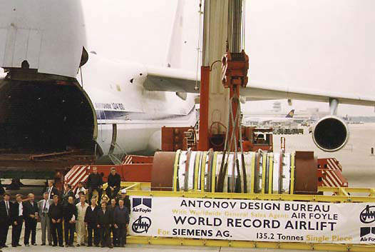Antonov hold the world record for carrying the heaviest single piece of cargo by air, taking a 124t power plant generator from Dusseldorf, Germany, to New Delhi, India.