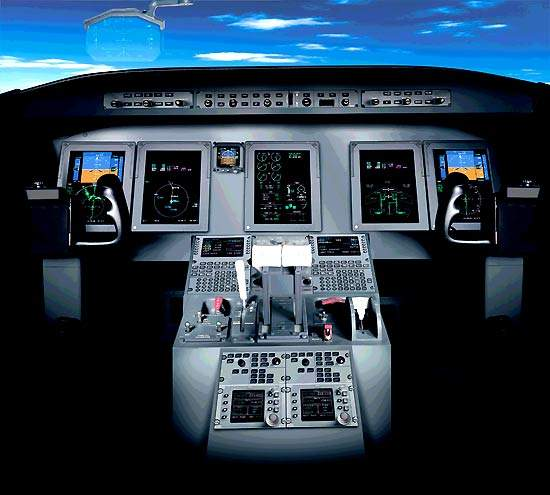 The flight deck is fitted with Rockwell Collins Pro Line 21 avionics and FMS 4200 flight management system.