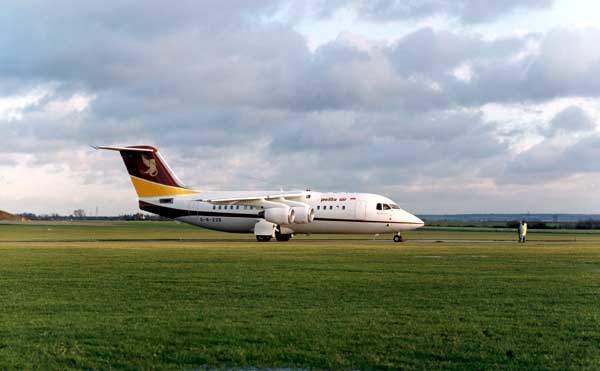 A Pelita Air RJ85 on the ground.