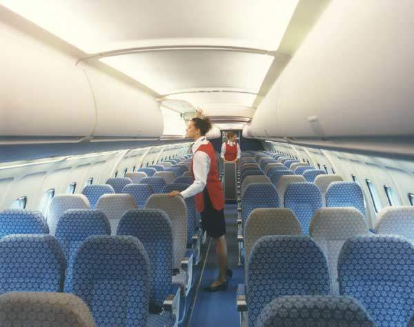 A six-abreast seating layout provides seating for 116 passengers.