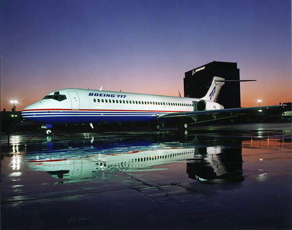 The 717 was developed from the DC-9 airframe and first flew in September 1998.