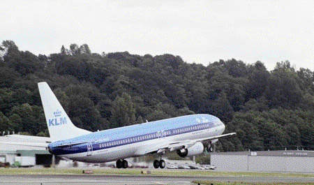 The 737-900 in KLM's fleet taking off.
