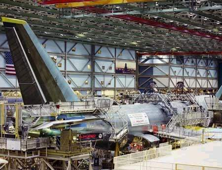 The construction of the 747-400ER extended range freighter at the Boeing factory in Everett, Washington. The freighter, one of three ordered by KLM, has a range of 9,032km.