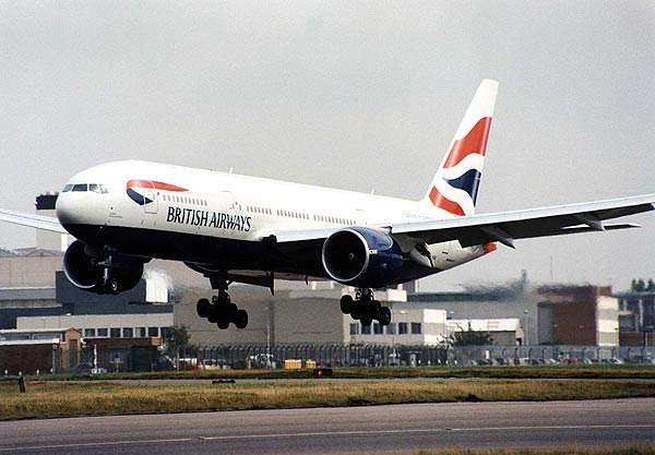 A British Airways 777 taking off.