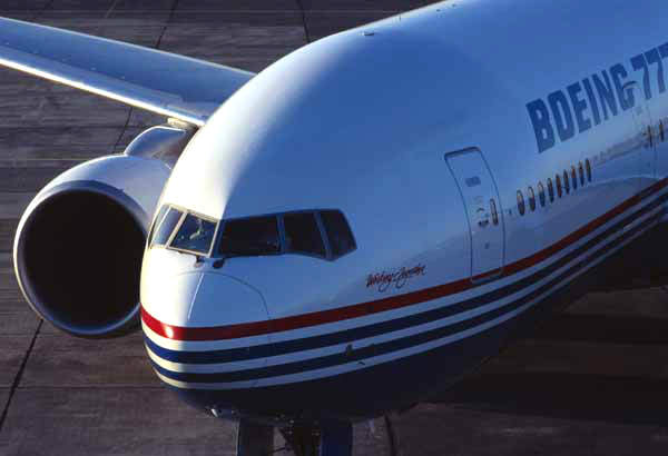 The Boeing 777-300 is a stretched version, seating 328 to 394 passengers in a three-class arrangement.