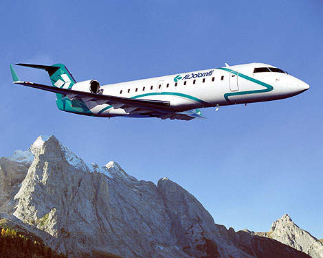 CRJ200LR in the fleet of Air Dolomiti of Northern Italy.