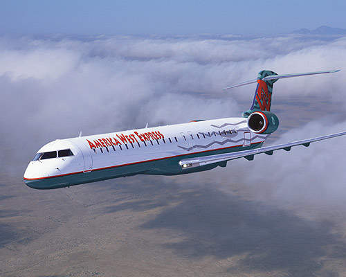 CRJ900 in the colours of America West Express Airlines.