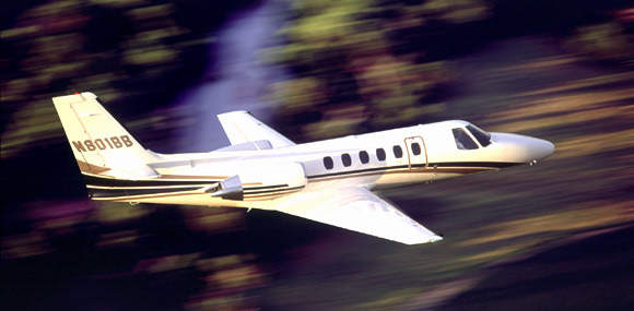 The Citation Bravo flies to an altitude of 13,216m (45,000ft) and carries up to seven passengers.