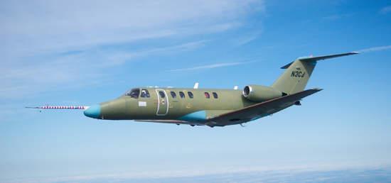 The Citation CJ3 first flight, in April 2003.