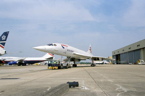 British Airways Concorde on the runway preparing for a test flight on 4 July 2001.