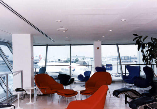 A view of Concorde through the windows of the British Airways Concorde Lounge at Kennedy Airport. The Concorde lounges were designed by Conran.