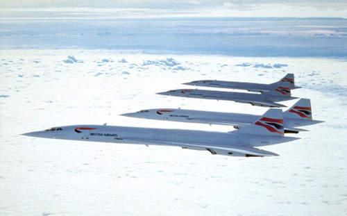 Four of the British Airways fleet of Concordes.