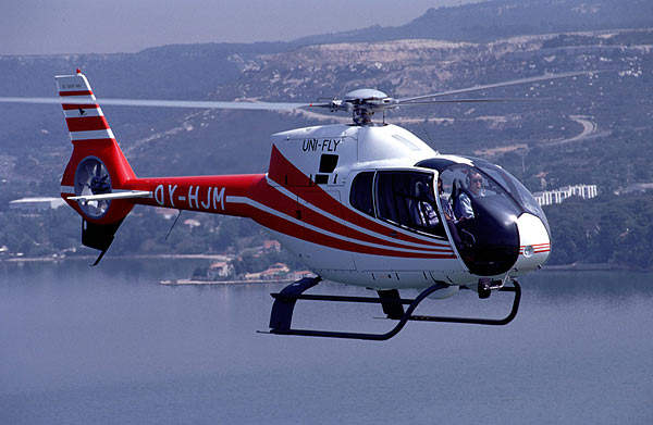 The EC120 light, single-engined helicopter can accommodate four passengers.