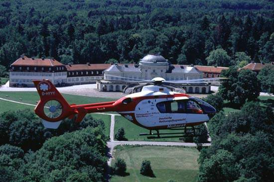 The EC 135 twin-engined helicopter, shown here in service with the German Air Rescue.