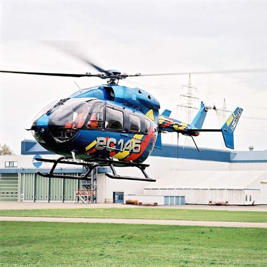 The EC 145 multi-role helicopter has been jointly developed by Eurocopter and Kawasaki Heavy Industries of Japan.