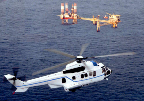 The helicopter is robustly built for paramilitary, rescue and offshore oil industry operation.