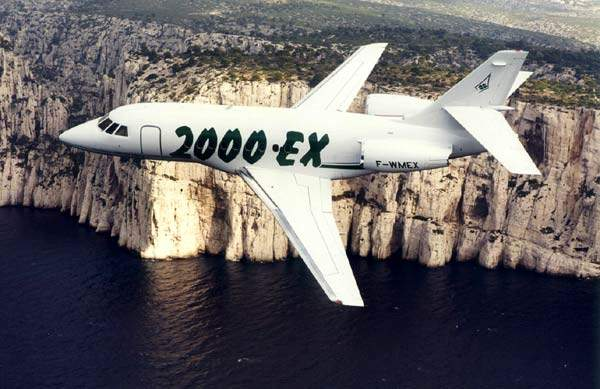 The Falcon 2000EX extended range business jet.