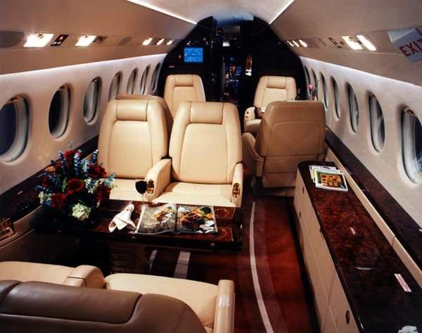 The interior of the Falcon 2000EX cabin.