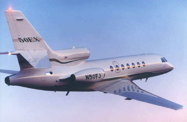 The Falcon 50EX three-engined business jet.