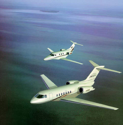 The Hawker Beechcraft new family of business jets features the Hawker 4000 (foreground) and the Premier I (background).