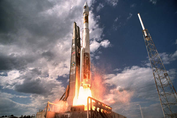 The satellite was launched aboard an Atlas 5 rocket on 13 August 2014. Image courtesy of Lockheed Martin/United Launch Alliance.