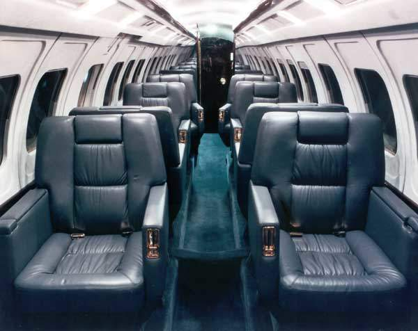 The interior of a Jetstream 31 flown by Corporate Flight Management, with ten leather seats.