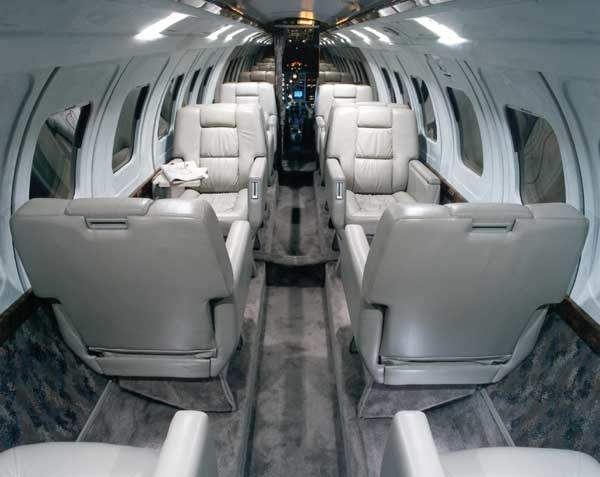 A typical J31 cabin interior with a ten-seat layout.
