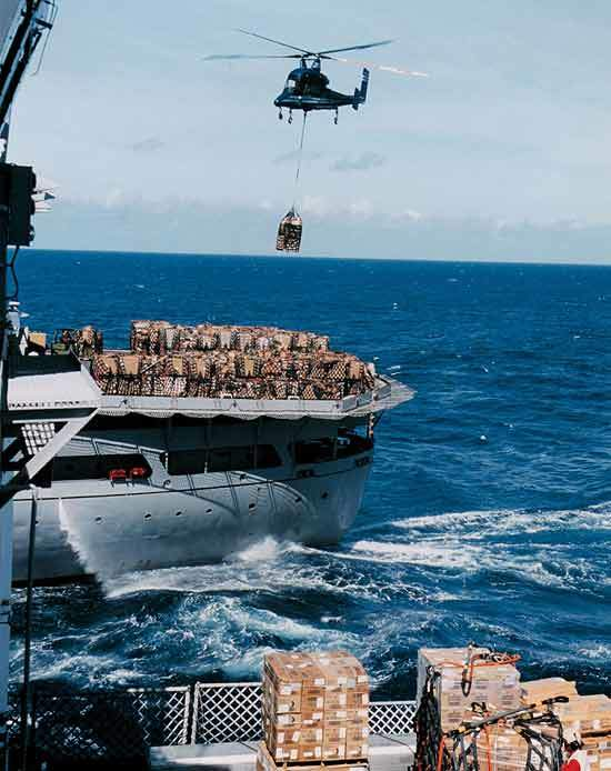 The effectiveness of Kaman's K-MAX in ship replenishment at sea was demonstrated in two VERTREP (Vertical Replenishment) programs for the US Navy's Military Sealift Command.
