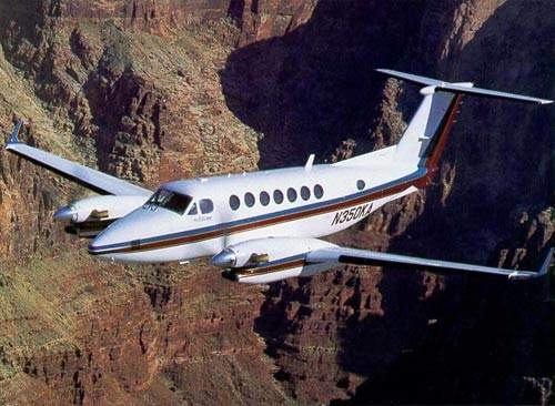 The Beech King Air 350 twin turboprop 11-passenger business aircraft.